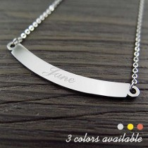 Engraved Name Curve Bar Necklace