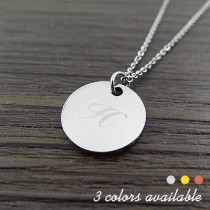 Engraved Letter Circle Pendant Necklace