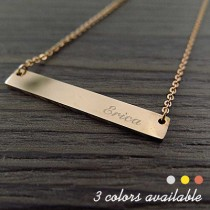 Engraved Side Name Bar Necklace