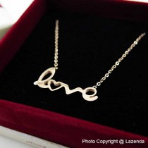 Love Wording Rose Gold Necklace