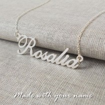 White Gold Plated Name Necklace