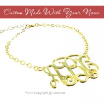 Custom-Made 24k gold monogram bracelet