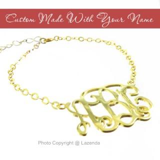 Custom-Made 24k gold monogram bracelet