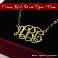 Custom-Made 24k gold monogram necklace
