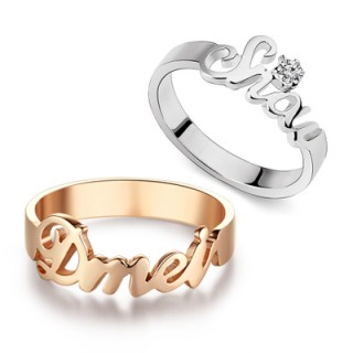 Custom-Made Couple Name Ring Set