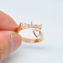 Custom-Made Name Ring with love