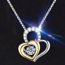 Twinkle Diamond Double Heart Necklace