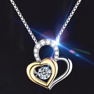Twinkle Diamond Double Heart Necklace